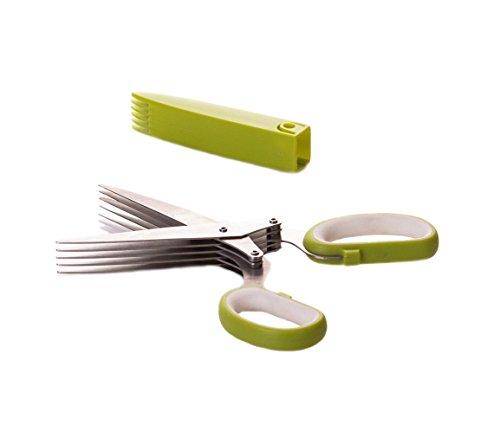 EWEI'S HomeWares 5-Blade Herb Scissors, Stainless Steel Multi Blade Shears, Herb ()