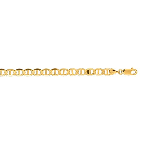 14kt Yellow Gold Diamond Cut Mariner Link Chain with Spring Ring Clasp (22, 5.2mm) ()