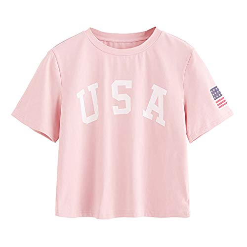 HAALIFE◕‿Women's Letter Print Crop Tops Summer Short Sleeve T-Shirt Pink