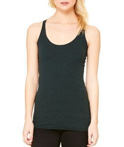Bella Ladies' Sylvia Tri-Blend Racerback Tank Top 8430, 2X-Large, Emerald Heather