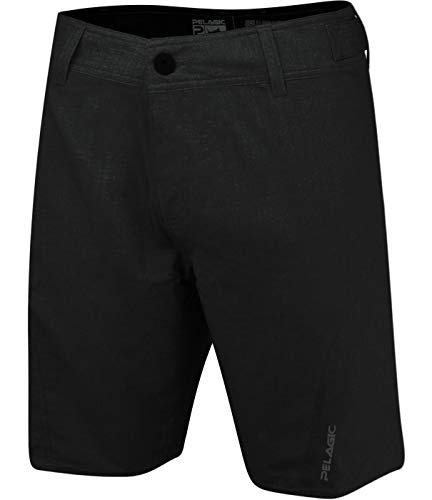 Pelagic Men's Sharkskin Pro Fishing Shorts | Button Zip Fly | Belt Loops | Tool Pocket Heather Black