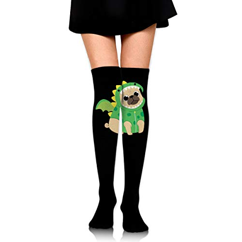 Cute Pug With Dragon Costume Girls Elegant Thigh High Socks Over The Knee High Stocking ()