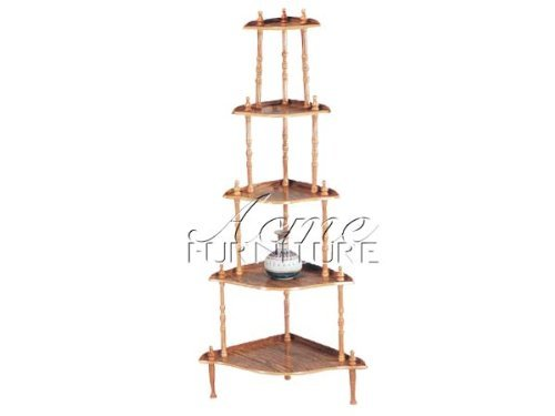 5-Tier Oak Wooden Corner Display Rack Set ACS002282-O