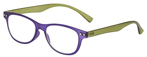 Ron Springs - Bendz Spring Hinge Flexible Reading Glasses, Mens & Womens Readers, Purple/Green