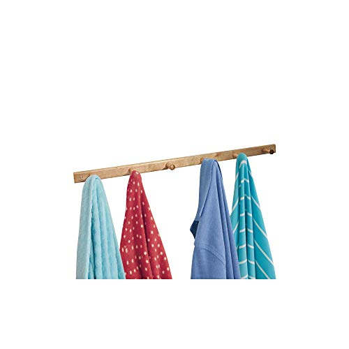 InterDesign Wood Wall Mount 6-Peg Coat Rack for Coats, Leashes, Hats, Robes, Towels, Jackets, Purses, Bedroom, Closet, Entryway, Mudroom, Kitchen, Office, 32.3 x 2.8 x 1.5, Natural Wood
