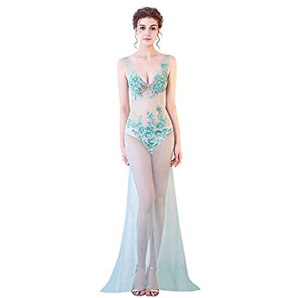 7c27d06c XSQR Summer Women's Clothing Sexy Perspective Car Model car Show Annual  Meeting Night Field Costumes Deep