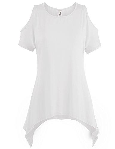 Asymmetric Hem Cold Shoulder Tunic Tops, 002-Ivory, US 1XL