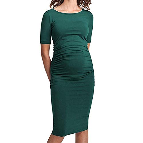 POHOK Women Dress Ruched Women Mom Maternity Pregnancy Dress Ruched Solid Dresses Maternity Clothes Green