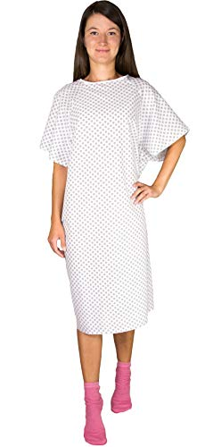 Hospital Gown Back Tie - Blue or White - 3 Pack (White) -