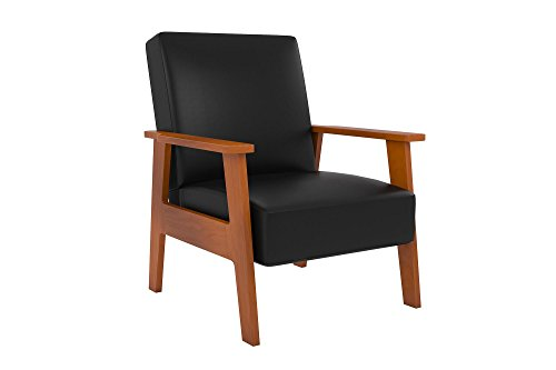 Novogratz Asher Chair with Multi-position Back in Faux Leather Upholstery, Wood Frame, Black