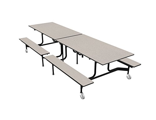 Palmer Hamilton Cafeteria Tables - Palmer Hamilton 59TV Easy Folding Mobile Bench Table, 27x30x120, Gray/Black, Cafeteria, School Breakroom Table