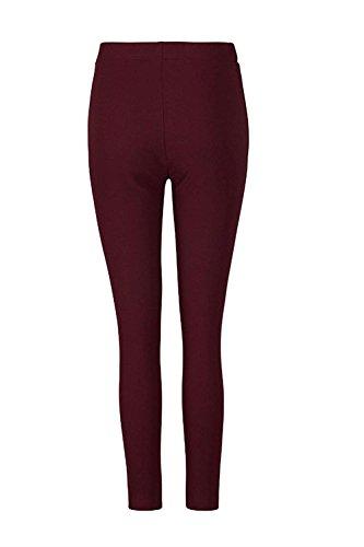 Skinny Chic Pantaloni Legging Fashion Donna Tempo Rotwhite A Autunno Matita Libero Lunga Elastica Cute Cintura Trousers Solidi Colori Elastico zqqZvd
