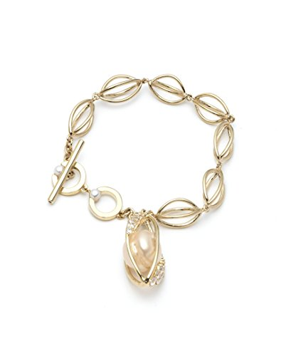 (Carolee Women's Single Row Flex Bracelet, Gold/White, 7.5