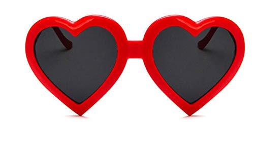 (AmDxD Unisex Polarized Sunglasses AC Lens Heart Full Frame UV400 Protection Retro Glasses for Festival, Cycling,Fishing Red)