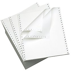 Office Depot(R) Brand Computer Paper, 2 Parts, 15 Lb, 9 1/2in. x 11in., Standard Perforation, Carbonless, White, Box Of 1,400 Sets