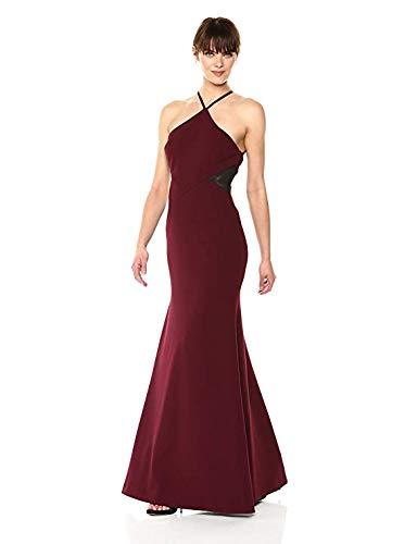 (Vera Wang Women's Halter Dress with Side mesh Inserts, Wine, 6)