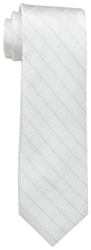 Calvin Klein Men's Etched Windowpane B Tie , White, One Size