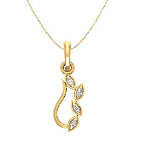 Or jaune 18K 0,04CT TW Round-shape Diamant (IJ | SI) diamant Pendentif