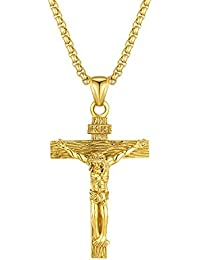 Mens Crucifix Necklace Stainless Steel Jesus Christ Cross Christian Pendant Jewelry for Men Women