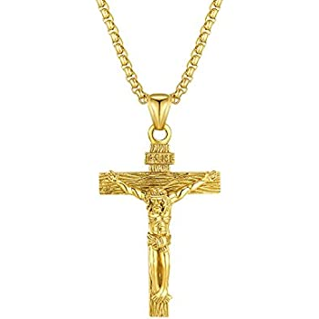 Mens crucifix necklace stainless steel jesus christ cross religious mens crucifix necklace stainless steel jesus christ cross religious christian pendant jewelry for men women christmas aloadofball Image collections
