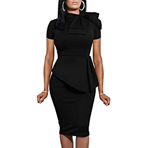 LAGSHIAN Women Fashion Peplum Bodycon Short Sleeve Bow Club Ruffle Pencil Party Dress