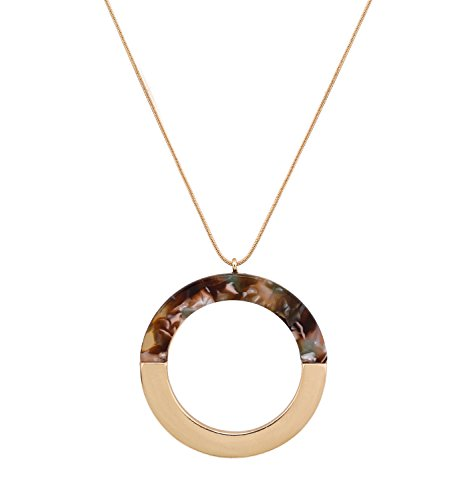 Pendant Brown Snake (ELEARD Long Necklace Metal Combined Acrylic Hoop Pendant Snake Chain Long Necklaces Women Girls (Brown floral))