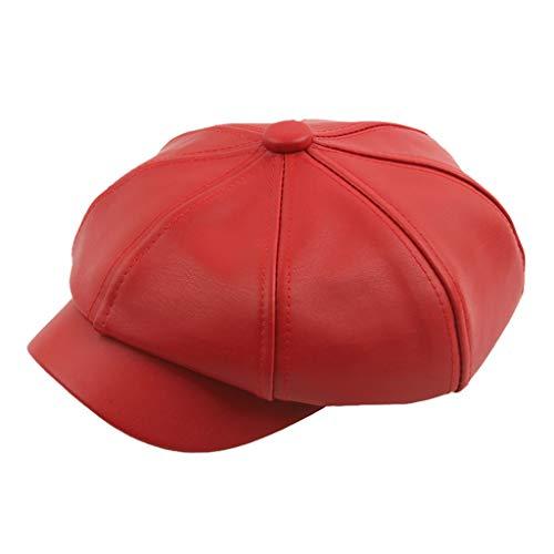 BPOF99_Hats Newsboy Hats PU Leather Warm Hats 8 Pieces Splice Wide Brims Newsboys Caps