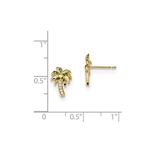 ICE CARATS 14k Yellow Gold Green Clear Cubic Zirconia Cz Palm Tree Post Stud Ball Button Earrings Fine Jewelry Ideal Mothers Day Gifts For Mom Women Gift Set From Heart by ICE CARATS (Image #3)