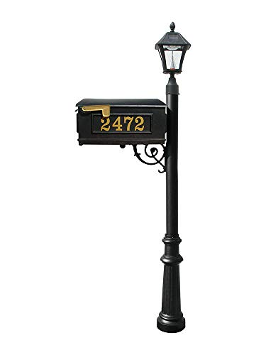 Mailbox w/Post Fluted Base & Solar Lamp, with Vinyl Numbers, Black ()