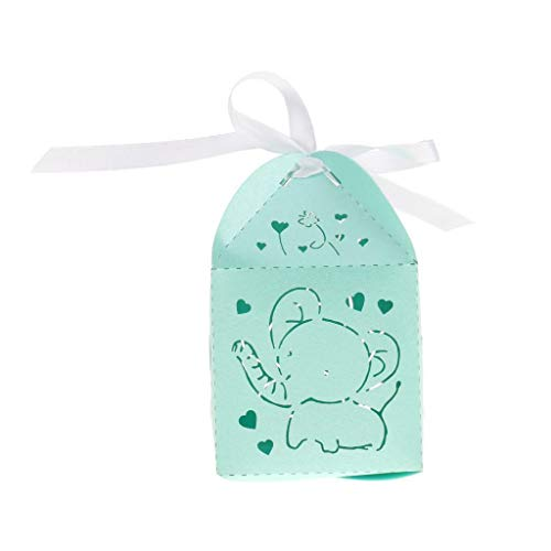 BROSCO Pack of 25 Cut Out Ribbon Candy Gift Box Baby Shower Favor Wedding Party Decors | Color - Elephant-Blue Green