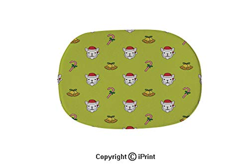 Soft Oval Bath Mat or Rug Place in Front of Shower,Vanity,Bath Tub,Sink and Toilet,Dog french bulldog Christmas Santa Claus gift candy cane bell vector seamless pattern wallpaper background,15.7