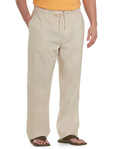 Island Passport by DXL Big and Tall Linen-Blend Drawstring Pants, Natural, 2XL -