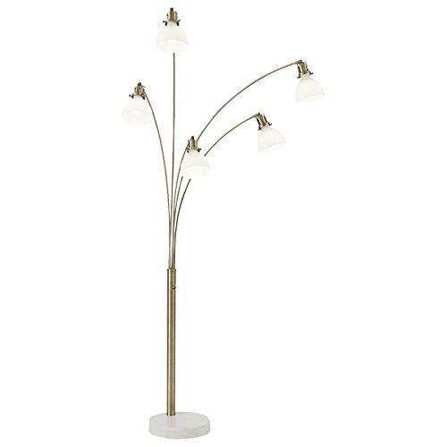 Glass Arc Lamp Floor (Rivet 5-Arm Brass and Marble Arc Lamp, 89