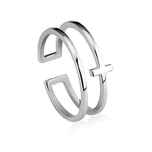 Weiwei Men Ring Rings Ladies Ring S925 Silver Cross Opening Ring Adjustable (Cross Diamond Purity Ring)