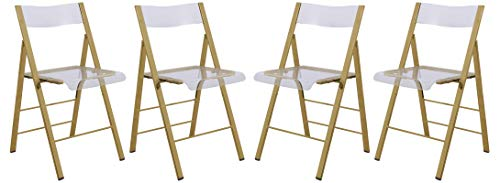 LeisureMod Milden Modern Acrylic Folding Chairs, Set of 4 (Gold)