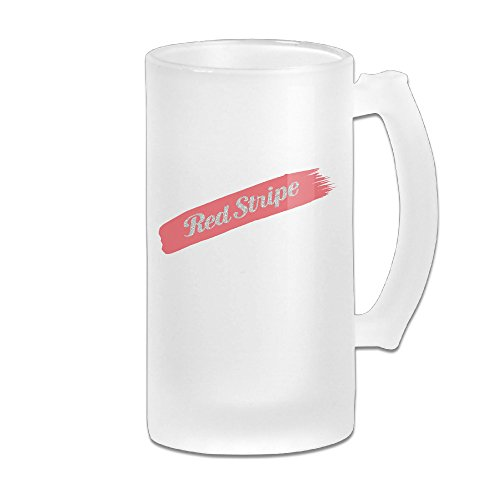 Red Stripe Beer Logo Great Extra Large Frosted Glass Beer Mug, Personalized Beer Stein, Tea / Coffee Cups - 17 Ounce / 500ML