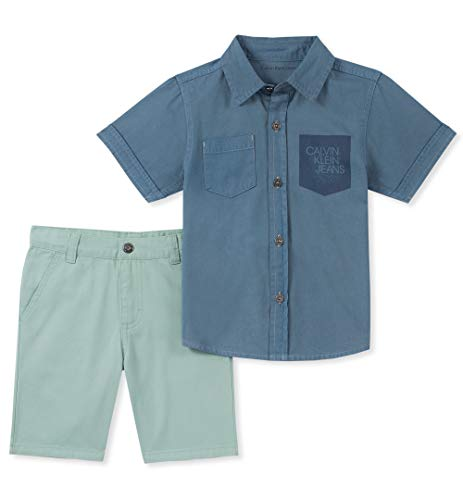 Calvin Klein Boys' Toddler 2 Pieces Shirt Shorts Set, Blue/Green, 3T