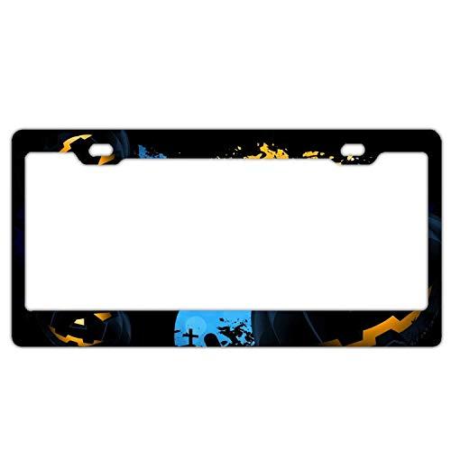 AUdddflsicenshf License Plate Cover Amazing Happy Halloween Steel Metal License Plate Frame -
