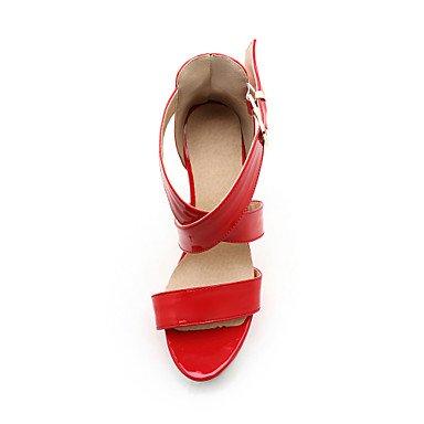 LvYuan Mujer-Tacón Robusto-Zapatos del club-Sandalias-Boda Vestido Fiesta y Noche-PU-Negro Rojo Blanco Almendra Red