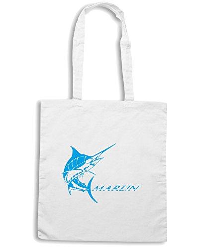 T-Shirtshock - Bolsa para la compra FUN1204 diecut vinyl fishing decal 12 31946 Blanco