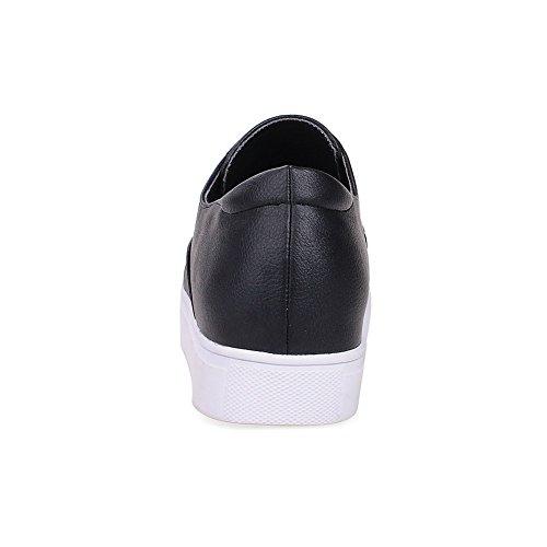 AgooLar Damen Weiches Material Ziehen auf Rund Zehe Niedriger Absatz Rein Pumps Schuhe Schwarz
