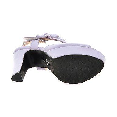 LvYuan Tacón Robusto-Zapatos del club-Sandalias-Oficina y Trabajo Informal Vestido-PU-Negro Rosa Morado Beige Purple
