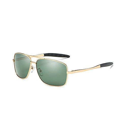 VeBrellen Driving Sunglasses Ultra Lightweight Rectangular Polarized Sun Glasses 100% UV Protection Al-Mg Metal Frame YJ121 (Gold Frame Green - Sunglasses Mens Lv