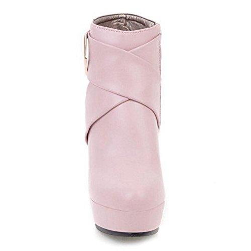 COOLCEPT Women Fashion Heels Bootie Zipper Pink grYC0886YK