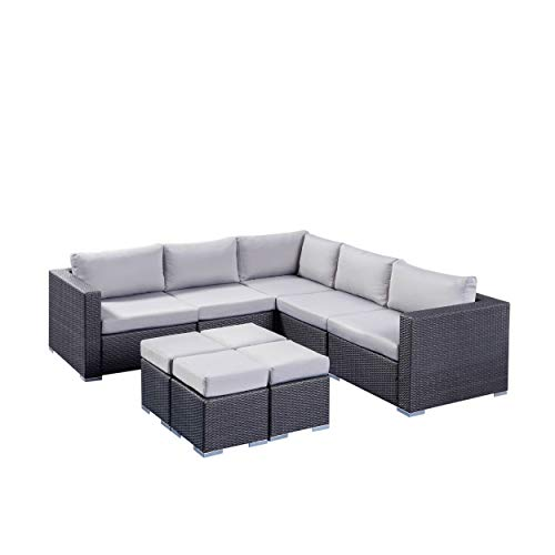 Tammy Rosa Outdoor 5 Seater Wicker Sectional Sofa Set with Aluminum Frame and Cushions, Grey and Silver