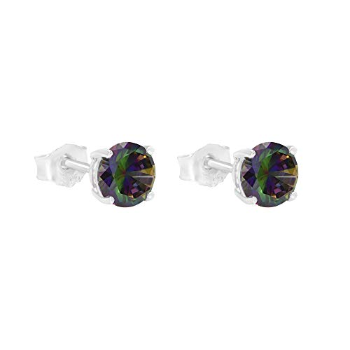 Round Mystic Fire Color Cz Stud Earrings on 925 Sterling Silver Rhodium Plated (5mm) ()