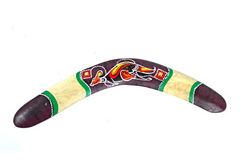 (WorldBazzar Handmade Wood Wall Sculptures Aboriginal Dot Painted Kangaroo Boomerang Hangings Hand Painted Carved)