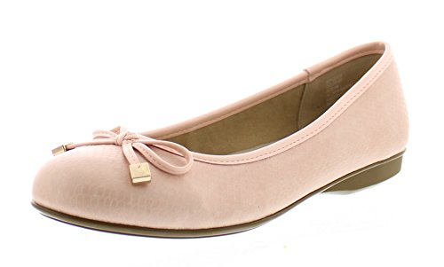Gold Toe Malorie Womens Comfortable Memory Foam Ballet Flat Shoe,Work Comfort Dress Flats Low Wedge Pump for Women Blush 7W US