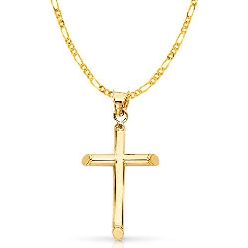 14K Yellow Gold Classic Cross Pendant with 2.3mm Figaro 3+1 Chain Chain Necklace - 18