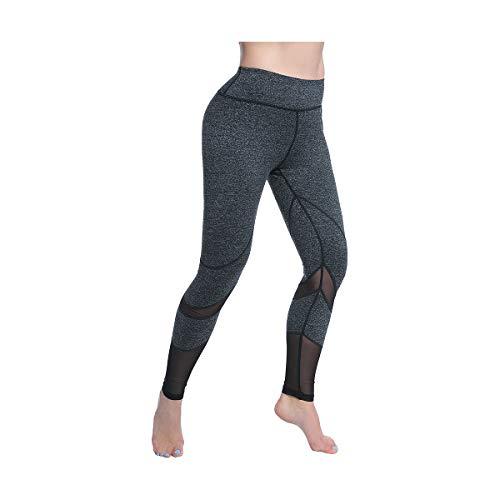 oga Pants, FEIVO Women's Power Flex Yoga Pants Tummy Control Workout Yoga Capris Pants Leggings, Mesh-deep Grey,  XL